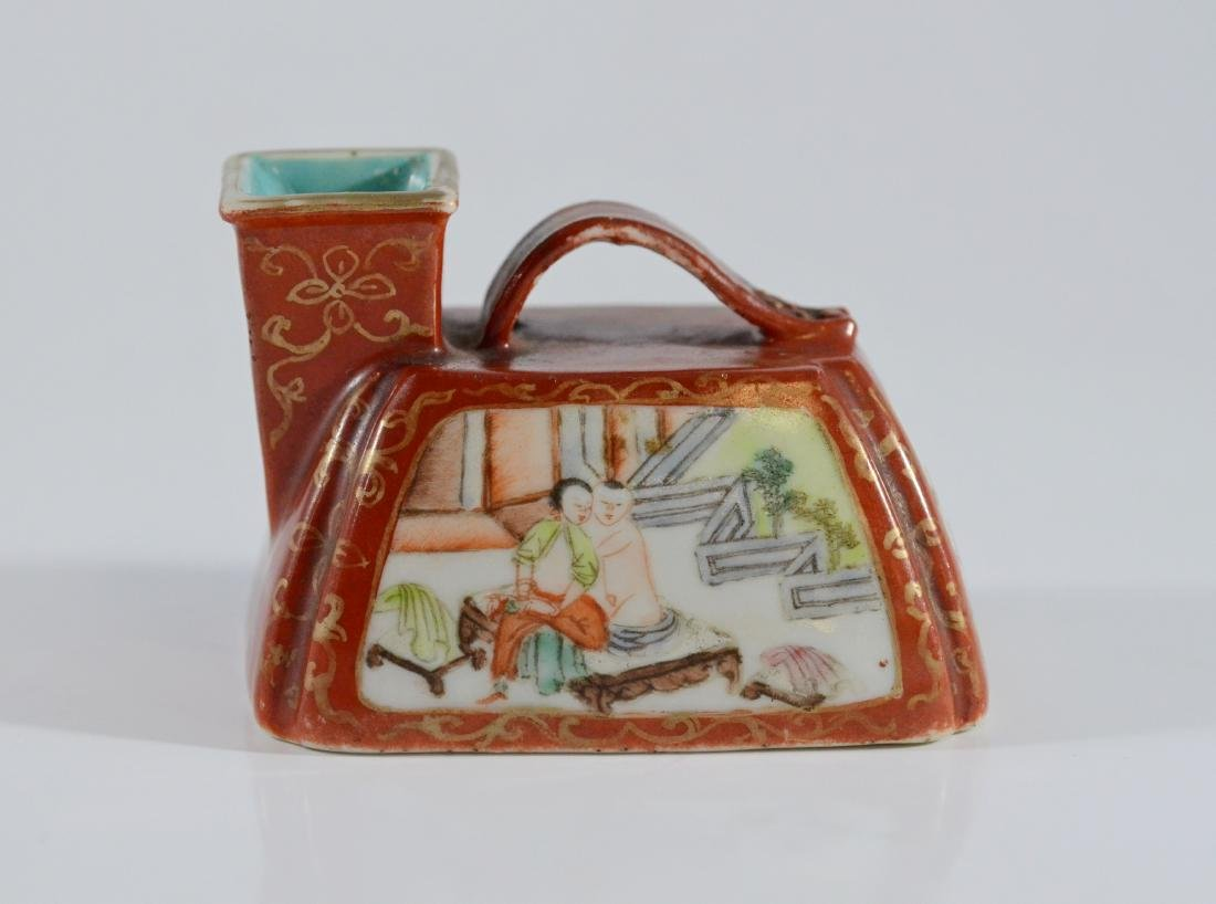 Chinese miniature porcelain urinal with erotic decor