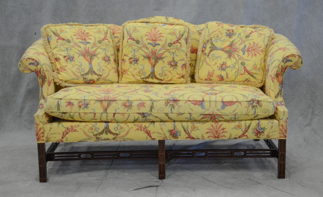 Southwood Chippendale Style Humpback Sofa, yellow fl