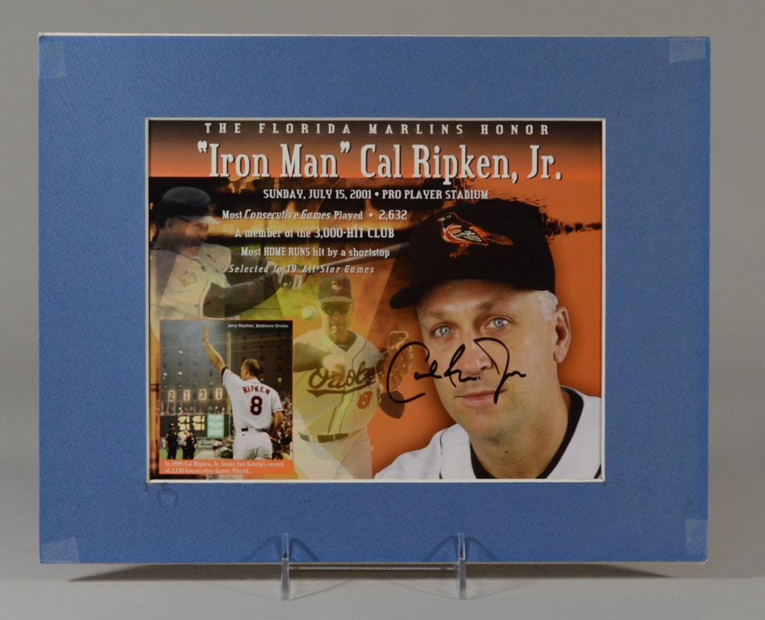 Cal Ripken Jr Signed 'Iron Man' Display