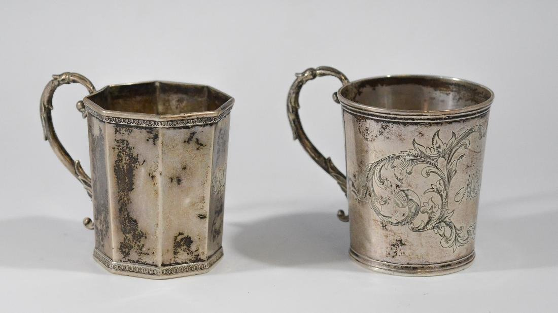 """2 American coin silver child's mugs, 3"""" h, 5.76 TO"""