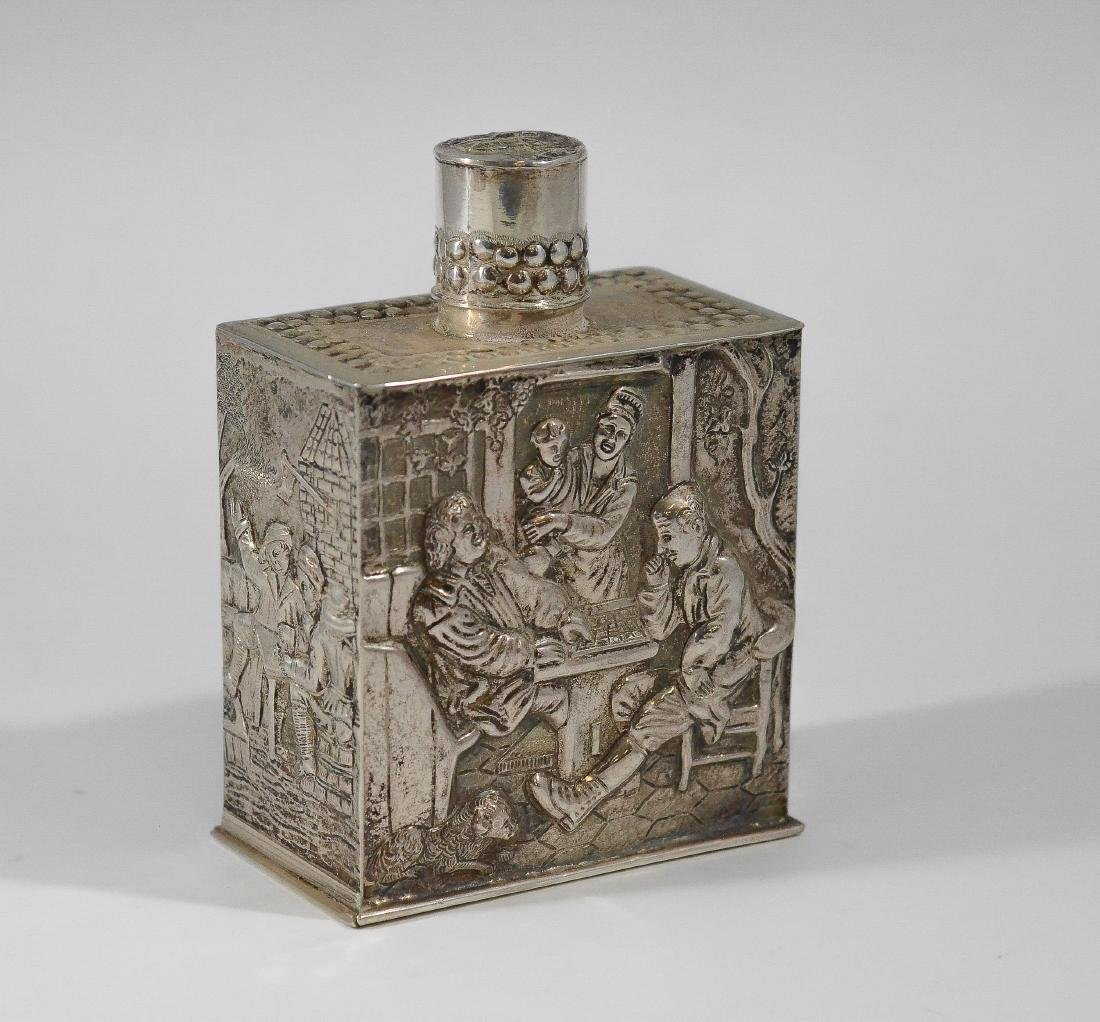 Dutch silver tea jar embossed with tavern scenes