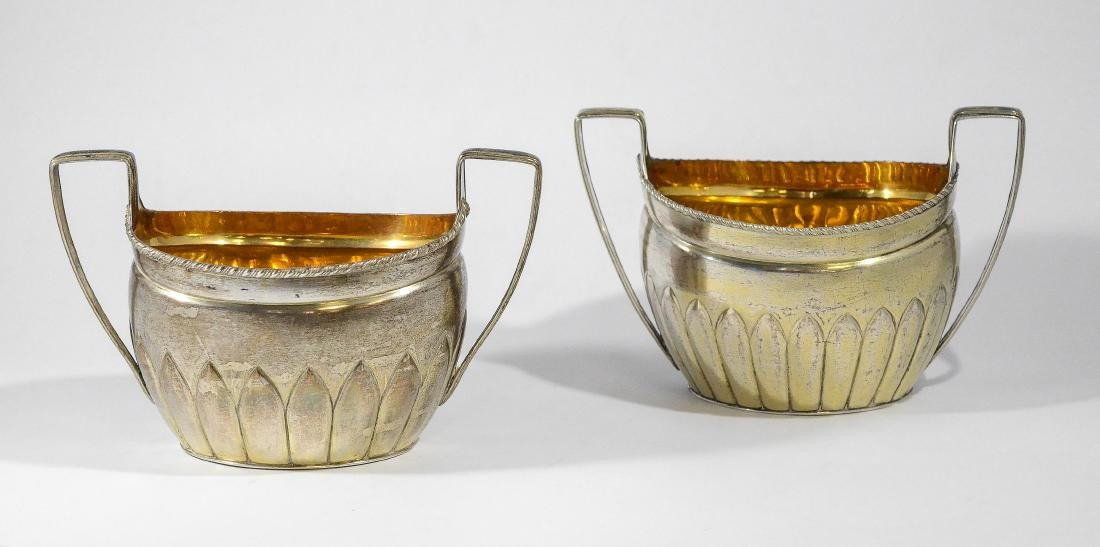 Pair unmarked coin silver oval sugar bowls