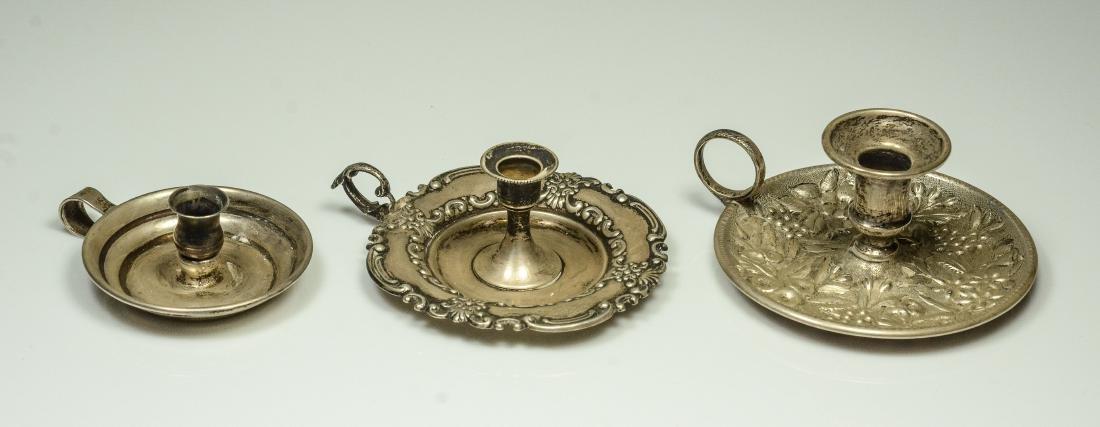3 Miniature silver chambersticks
