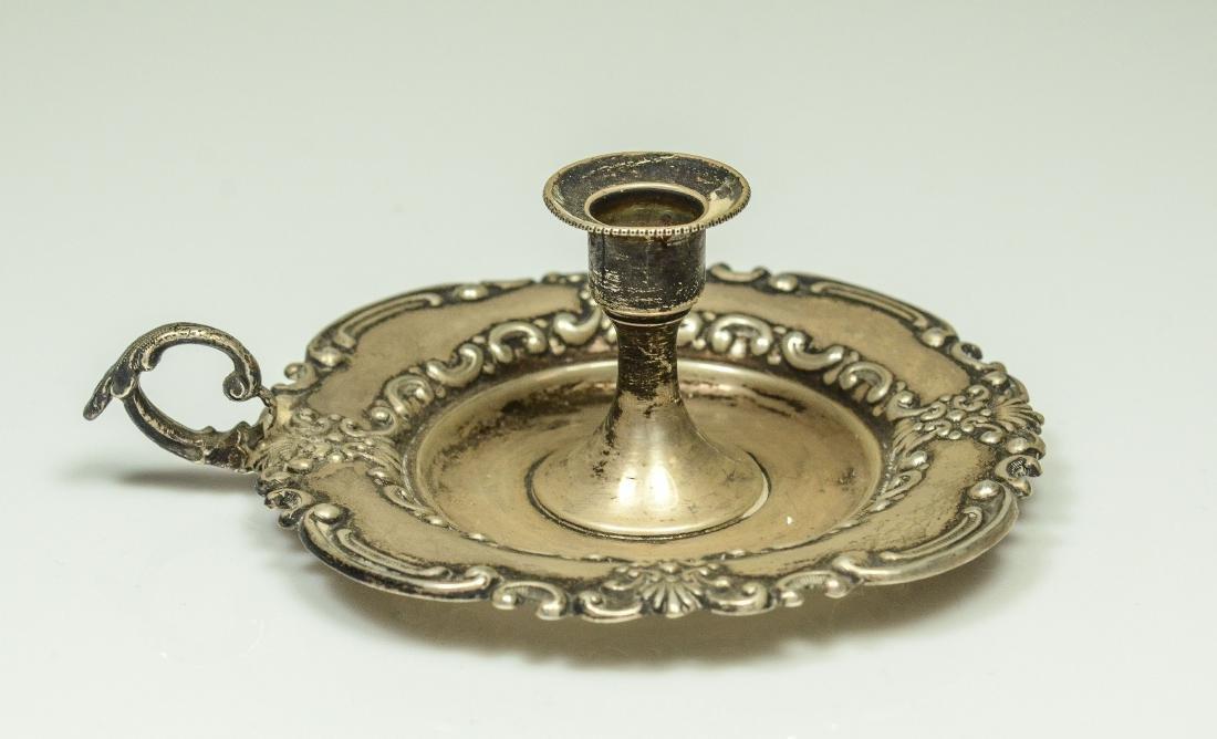 3 Miniature silver chambersticks - 2