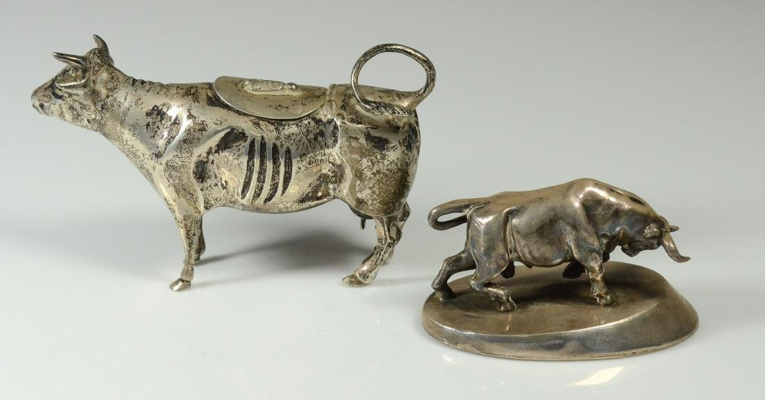 Dutch 833 silver cow creamer & unmarked silver bull - 2