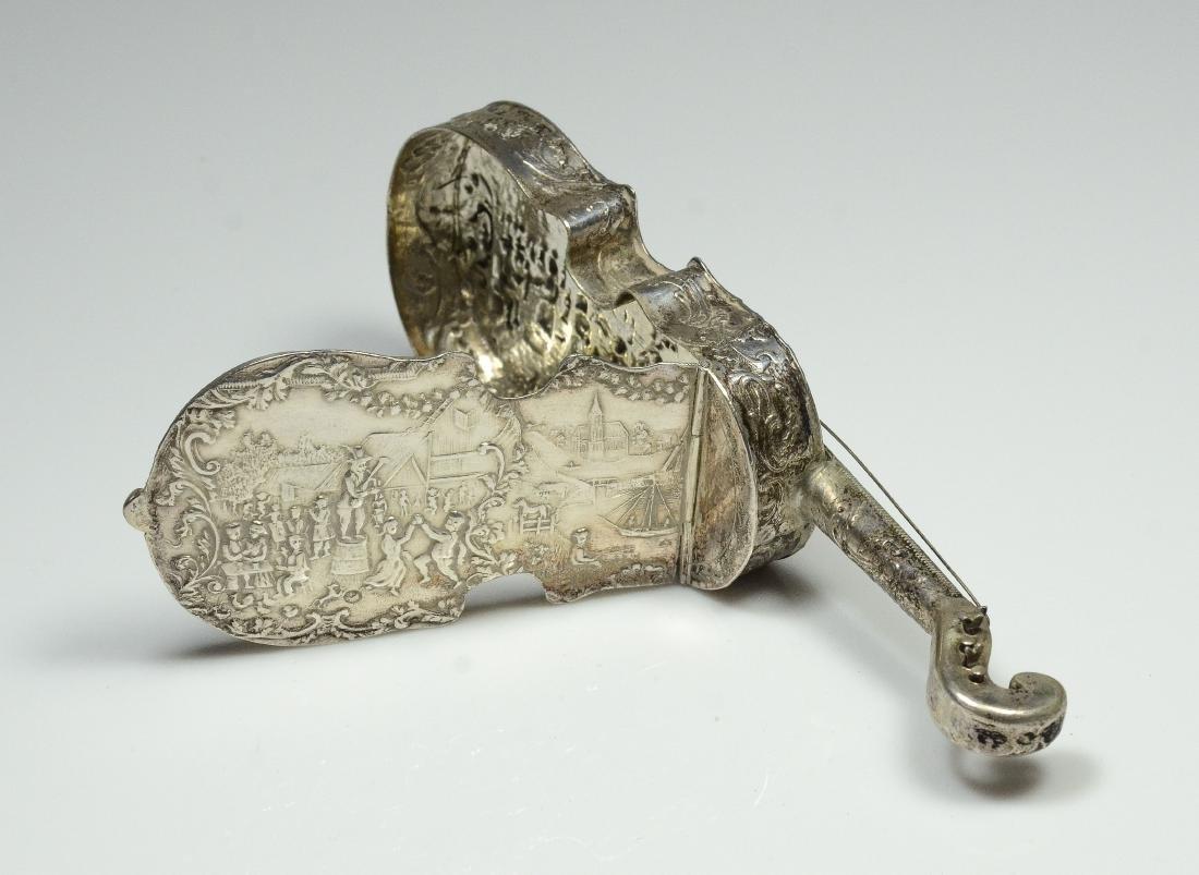 Dutch violin form 833 silver dresser box - 8