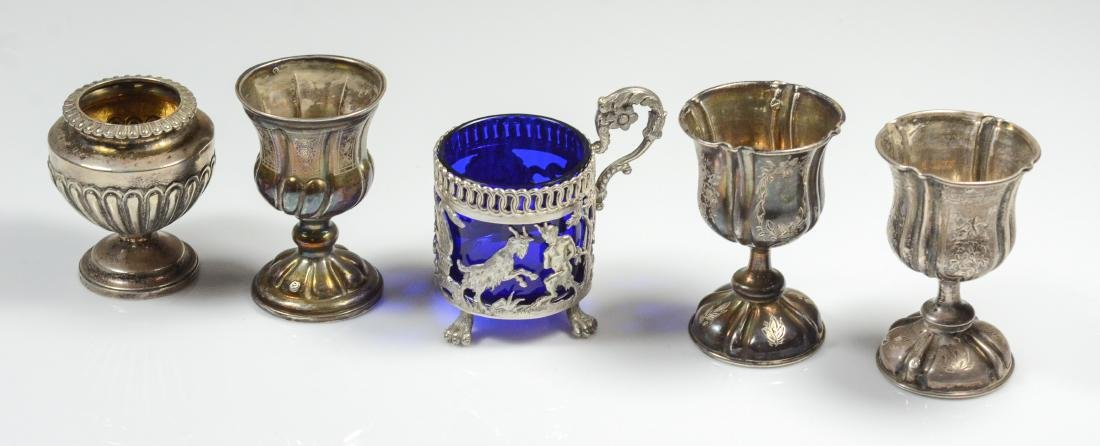 3 Continental 833 silver wine cups & 2 sterling pieces