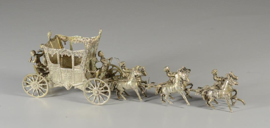 Continental silver horse drawn coach with 6 horses