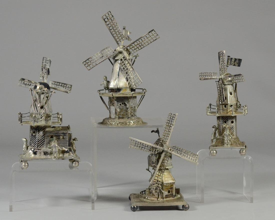 4 Continental silver windmills with various details