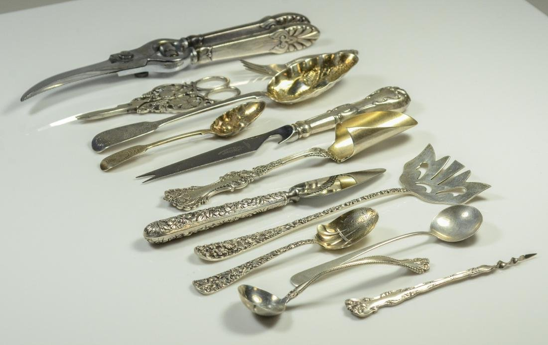 13 pcs sterling flatware & serving utensils