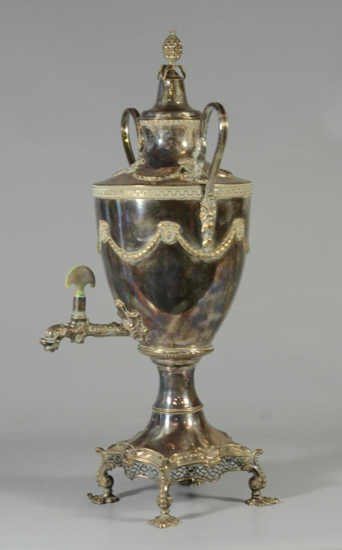 Sheffield plated silver on copper hot water urn