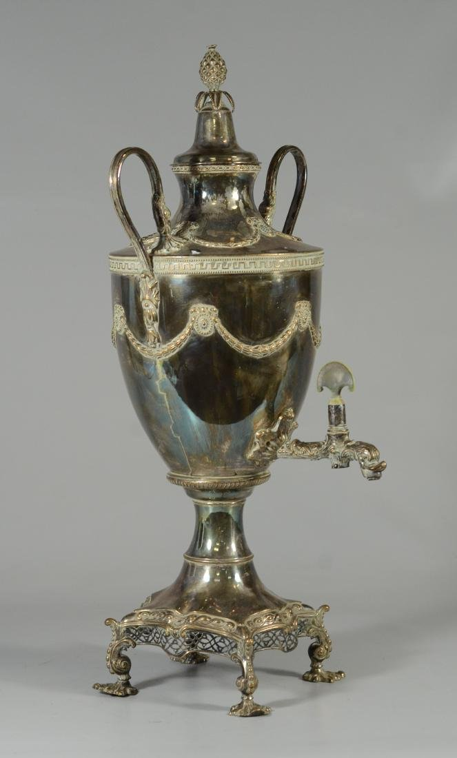 Sheffield plated silver on copper hot water urn - 3