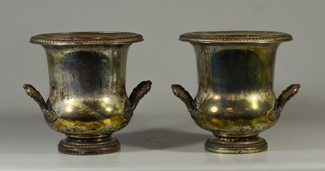Pair of French plated silver wine coolers