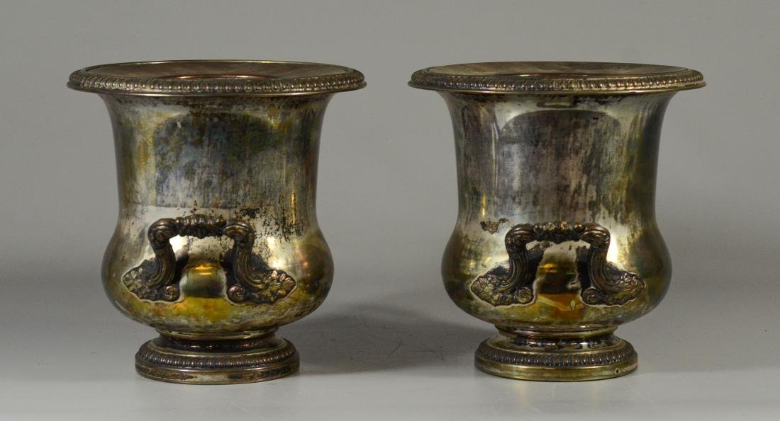 Pair of French plated silver wine coolers - 2