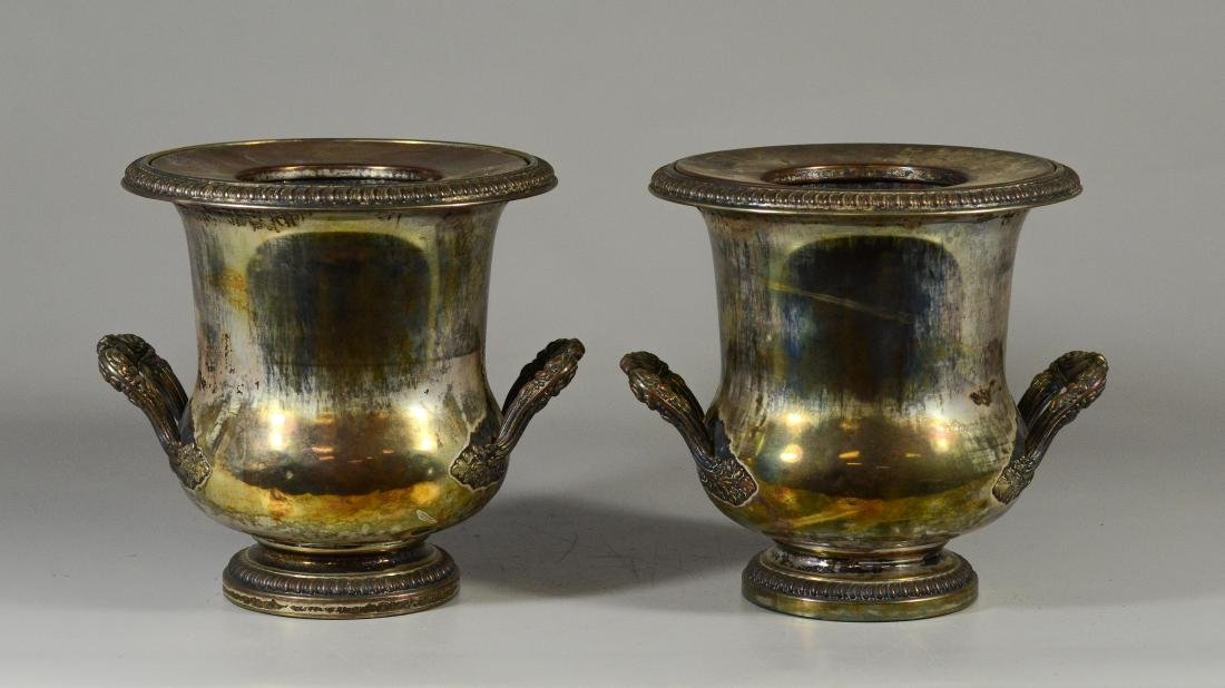Pair of French plated silver wine coolers - 3