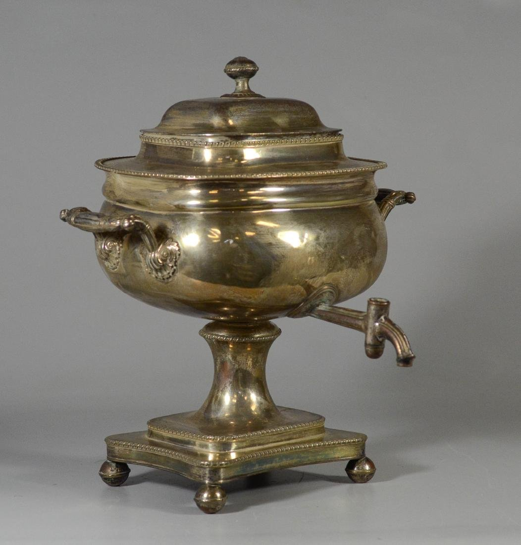 Sheffield plated silver on copper cold drink urn