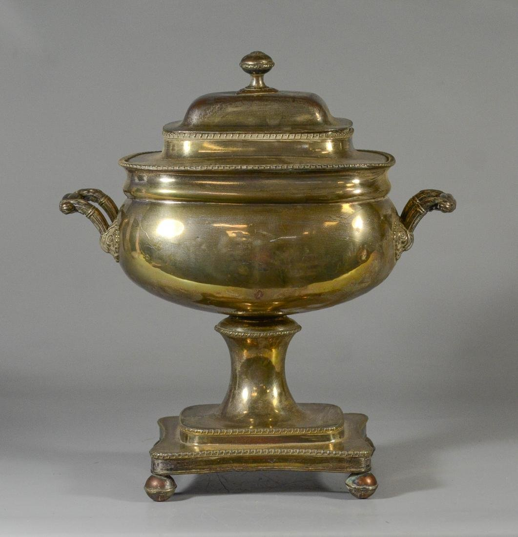 Sheffield plated silver on copper cold drink urn - 3