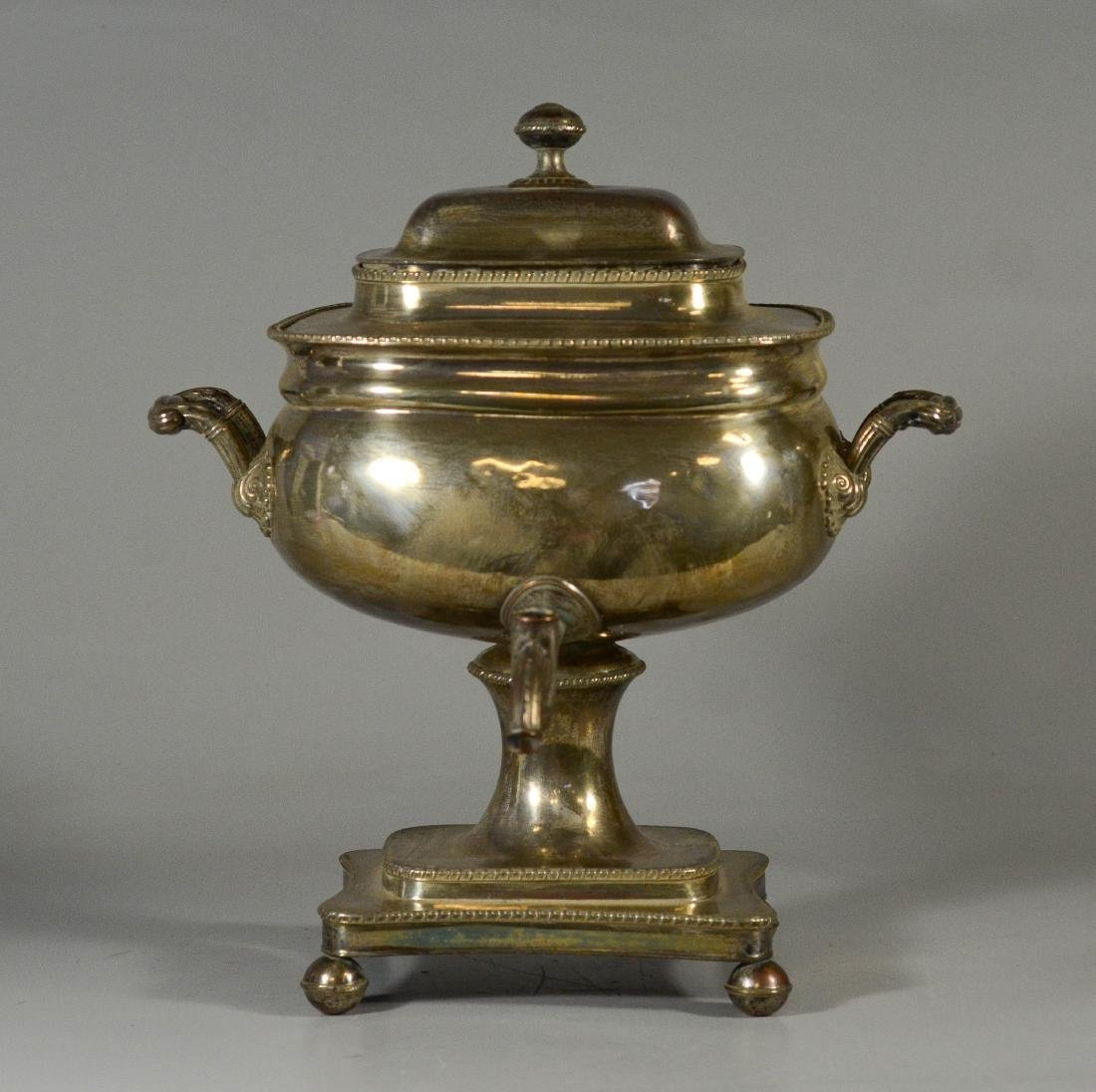 Sheffield plated silver on copper cold drink urn - 5