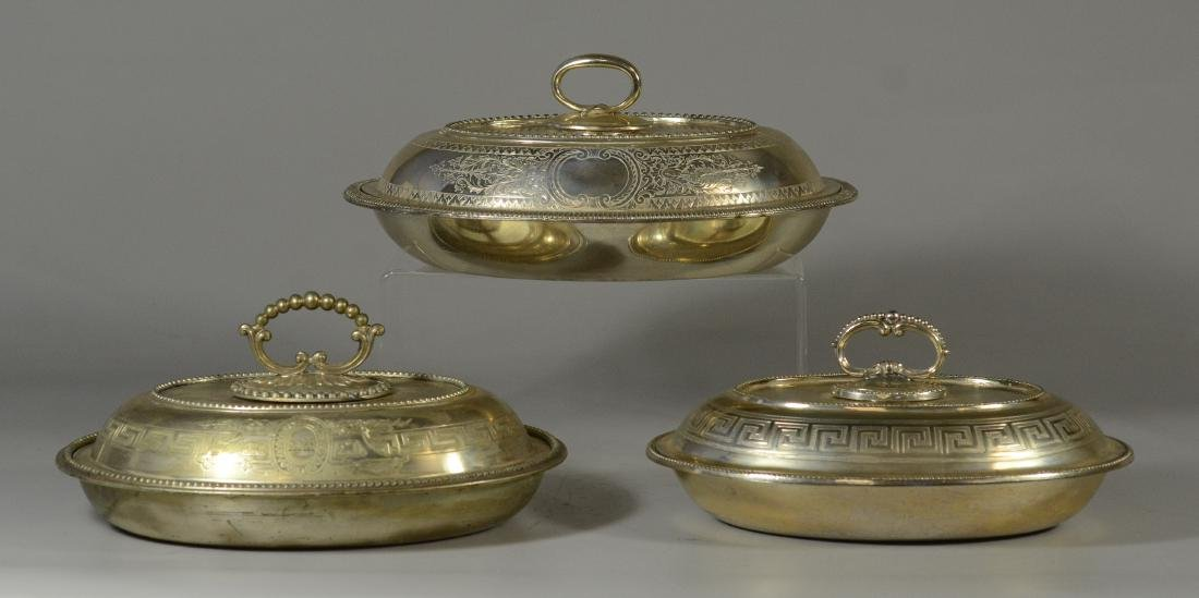 3 Sheffield plated silver covered serving dishes