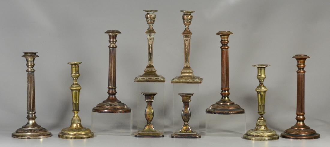 10 Plated silver Sheffield candlesticks, 19th C