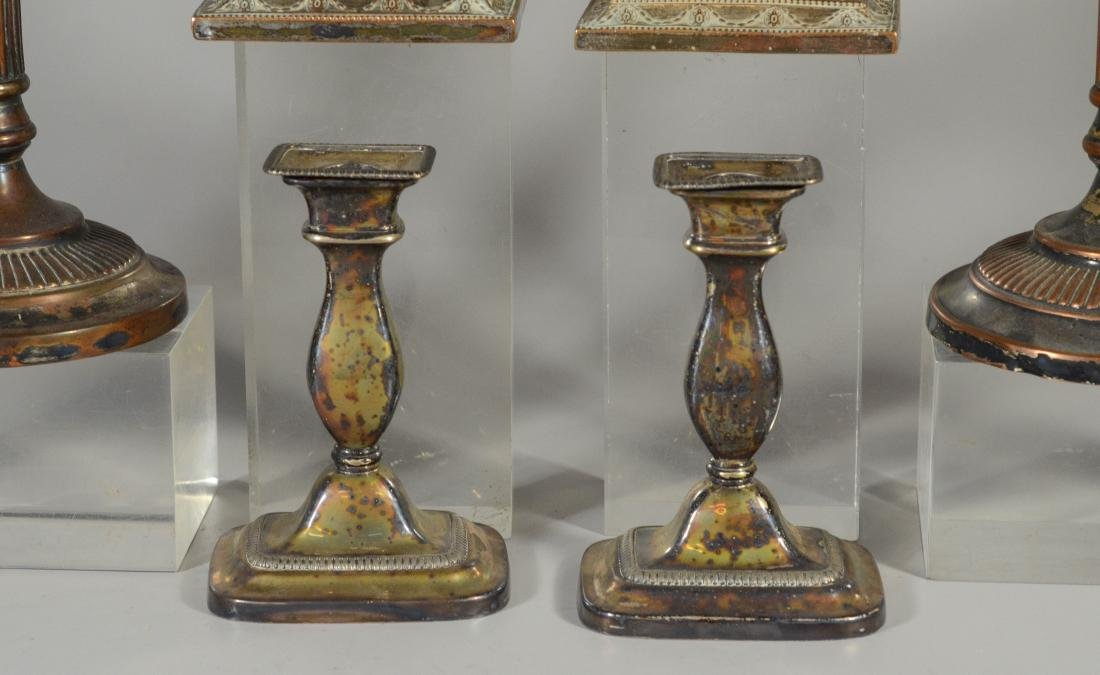10 Plated silver Sheffield candlesticks, 19th C - 2