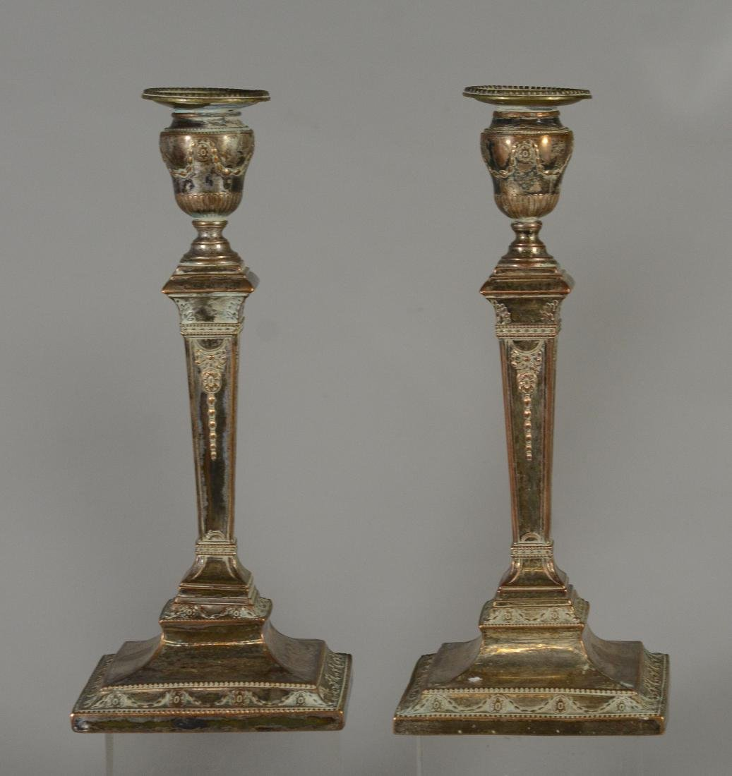 10 Plated silver Sheffield candlesticks, 19th C - 3