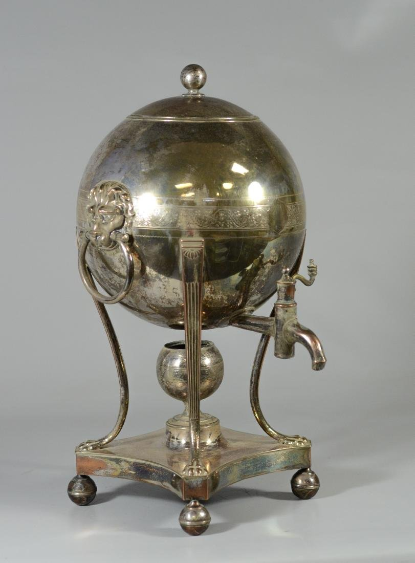 Sheffield plated silver hot water urn, globe form