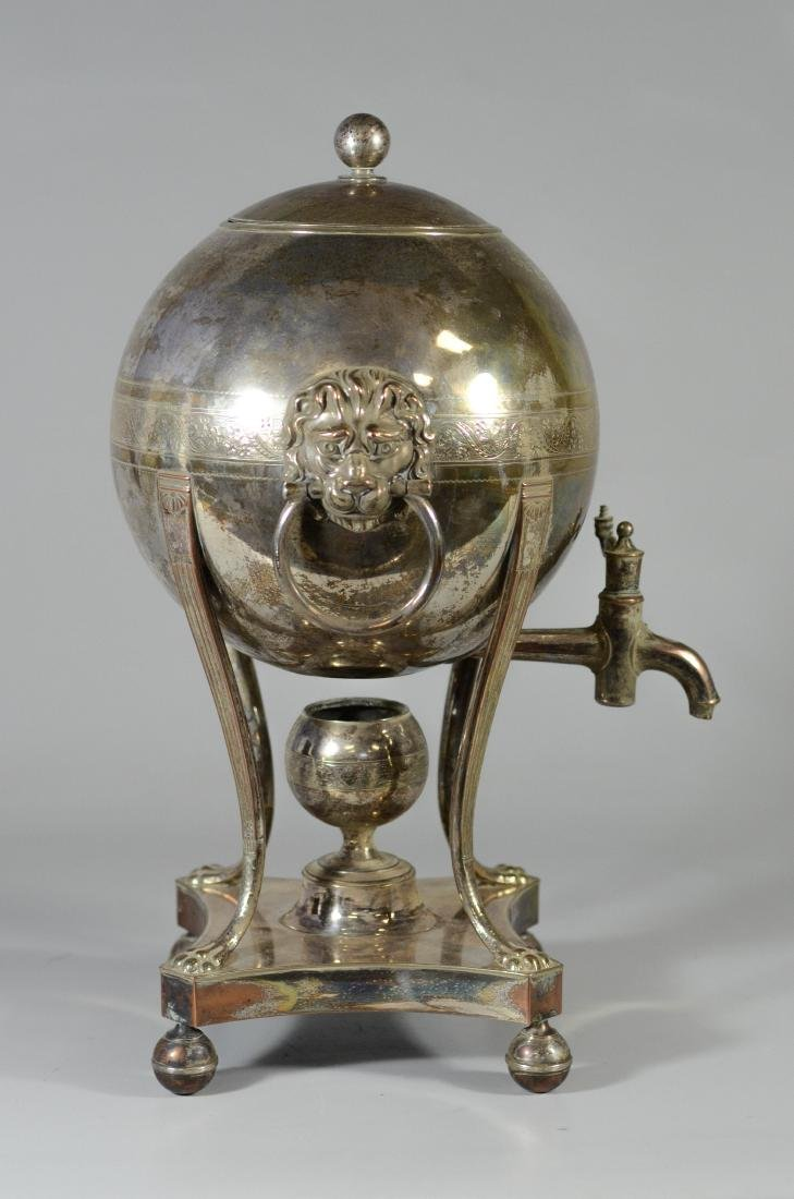 Sheffield plated silver hot water urn, globe form - 2