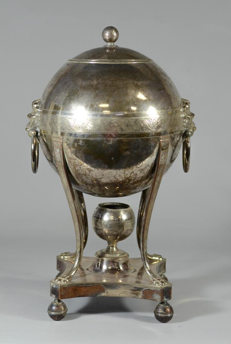 Sheffield plated silver hot water urn, globe form - 3