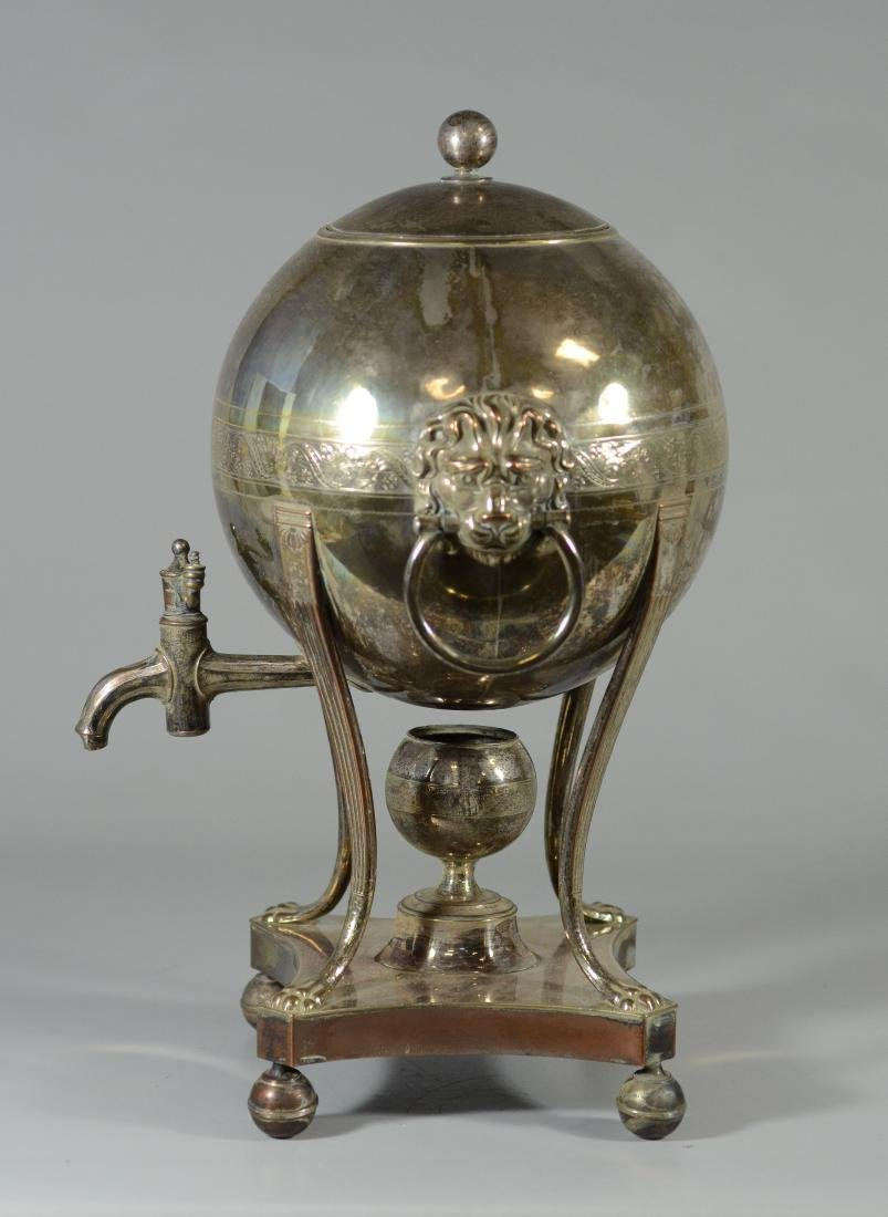 Sheffield plated silver hot water urn, globe form - 4