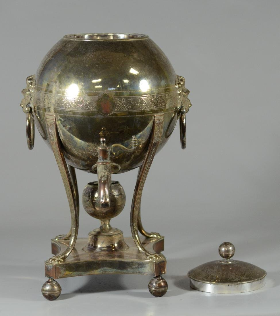 Sheffield plated silver hot water urn, globe form - 5