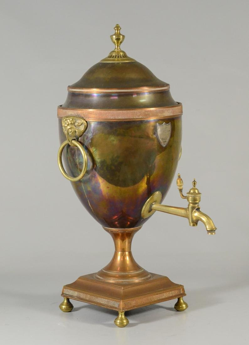 Copper and brass hot water urn with ram's heads