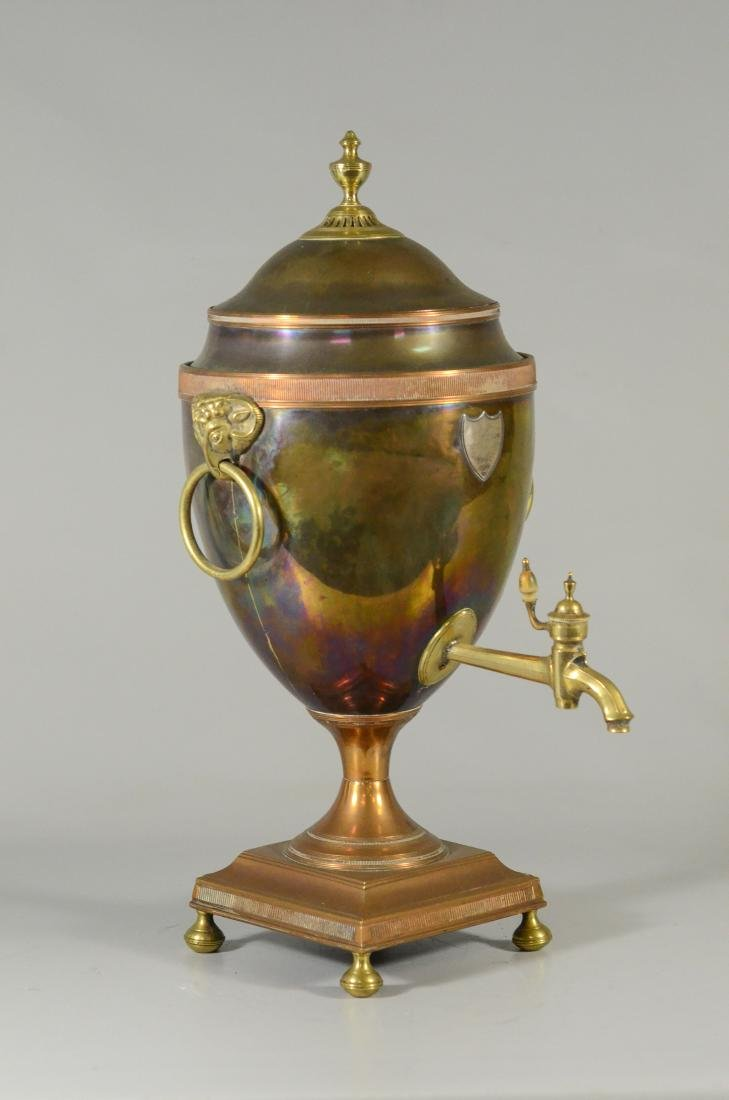 Copper and brass hot water urn with ram's heads - 2