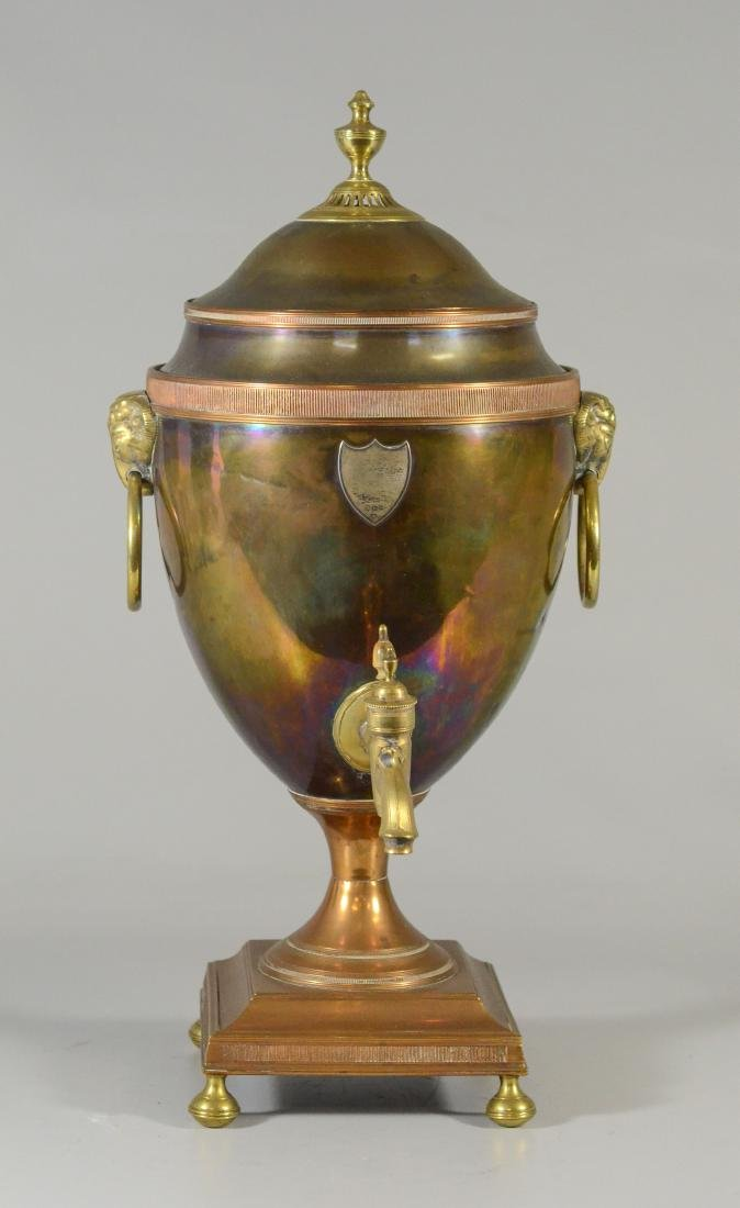 Copper and brass hot water urn with ram's heads - 3