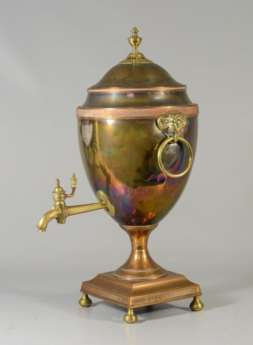 Copper and brass hot water urn with ram's heads - 6