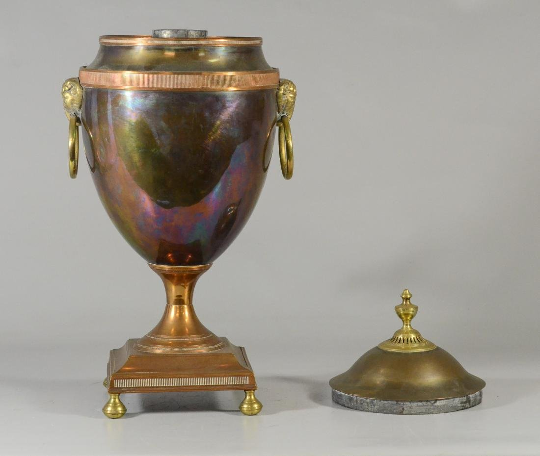 Copper and brass hot water urn with ram's heads - 7