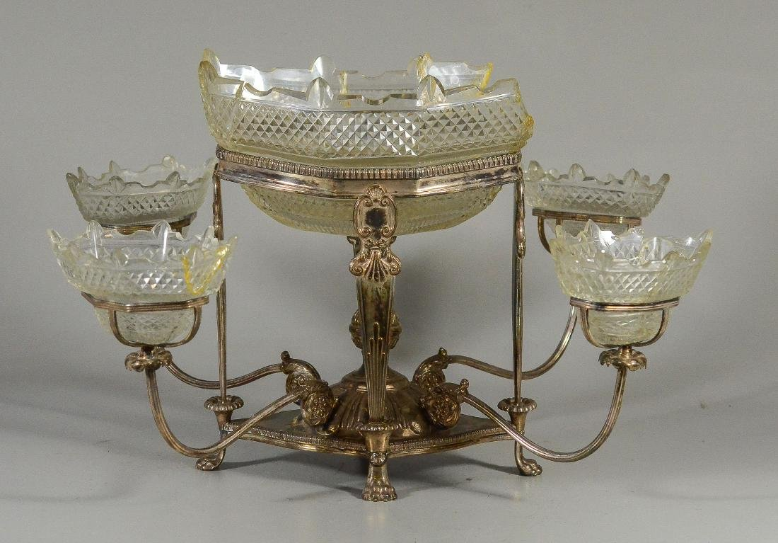Plated silver epergne, unsigned
