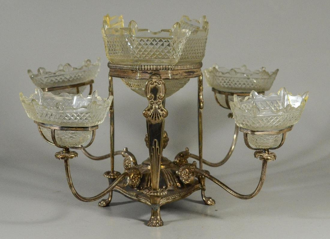 Plated silver epergne, unsigned - 2