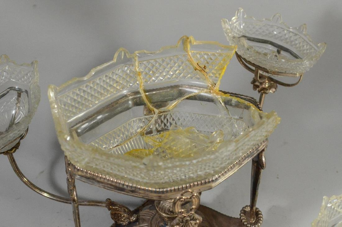 Plated silver epergne, unsigned - 3