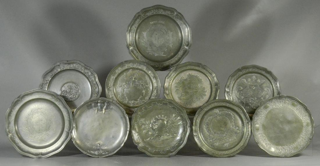 10 18th/19th C French/Swiss decorative pewter platessss