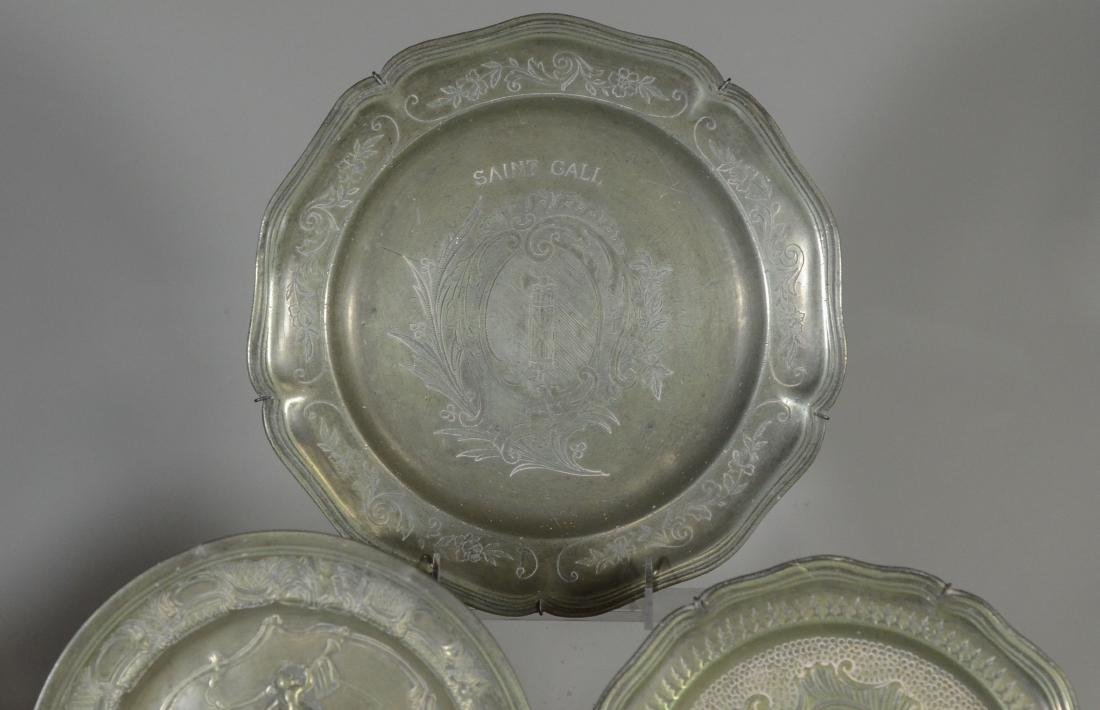 10 18th/19th C French/Swiss decorative pewter platessss - 2
