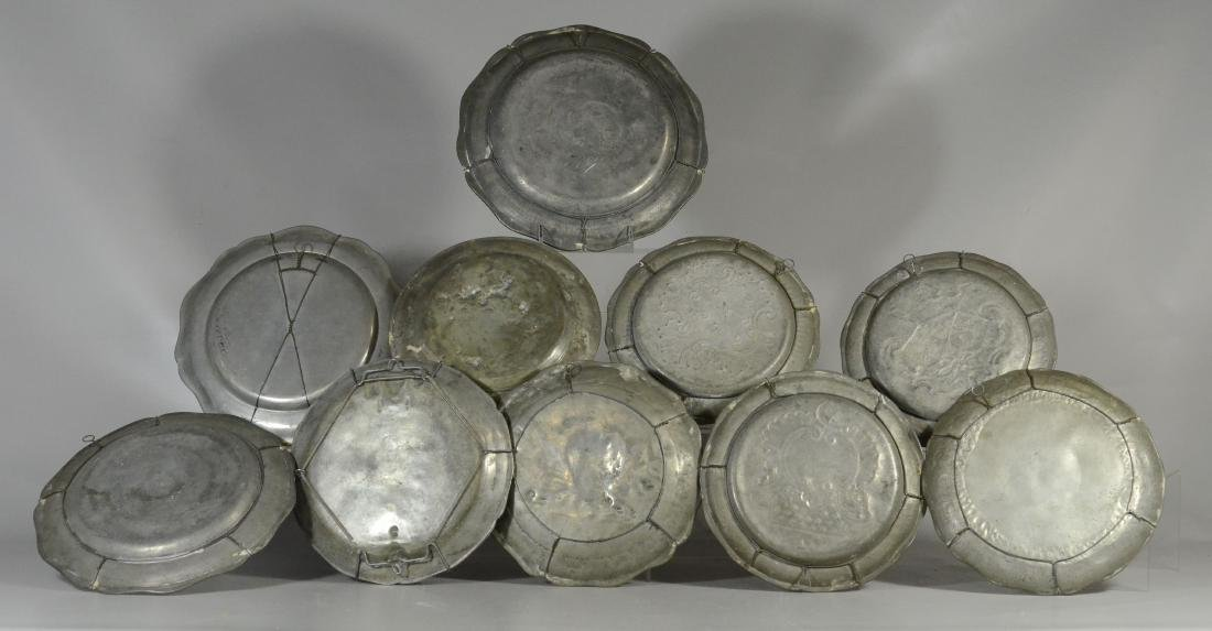 10 18th/19th C French/Swiss decorative pewter platessss - 5