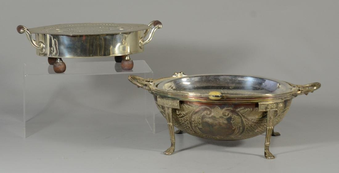 Ovoid silver plated serving dish with revolving top - 2