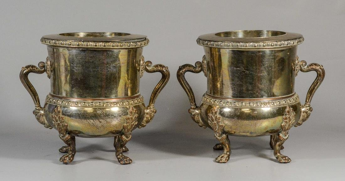Pair of English Sheffield plated silver wine coolers