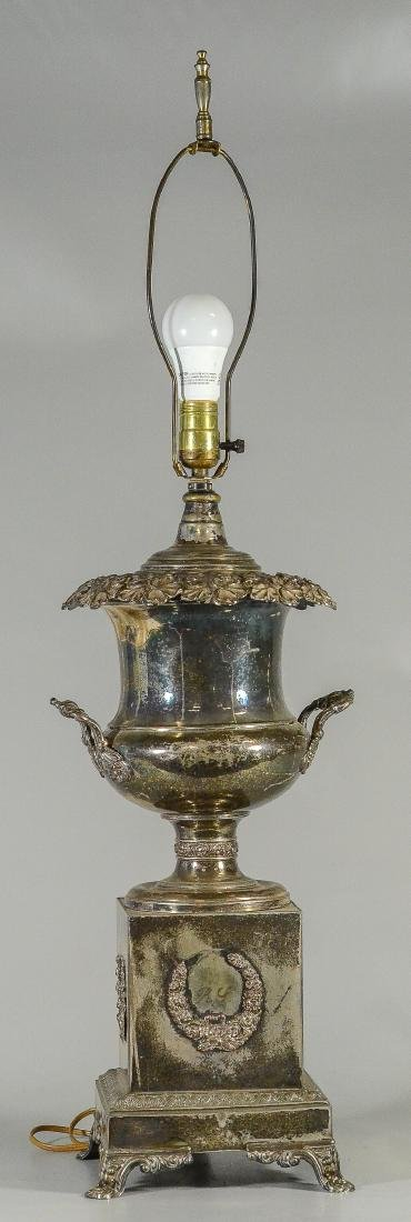 Ornate Sheffield plated silver urn converted to lamp