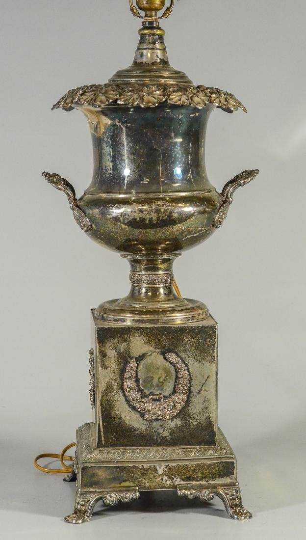 Ornate Sheffield plated silver urn converted to lamp - 2