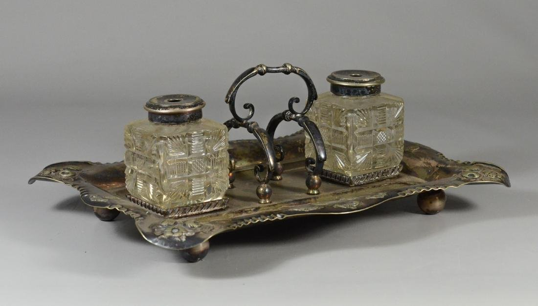 Sheffield plated standish with 2 crystal inkwells