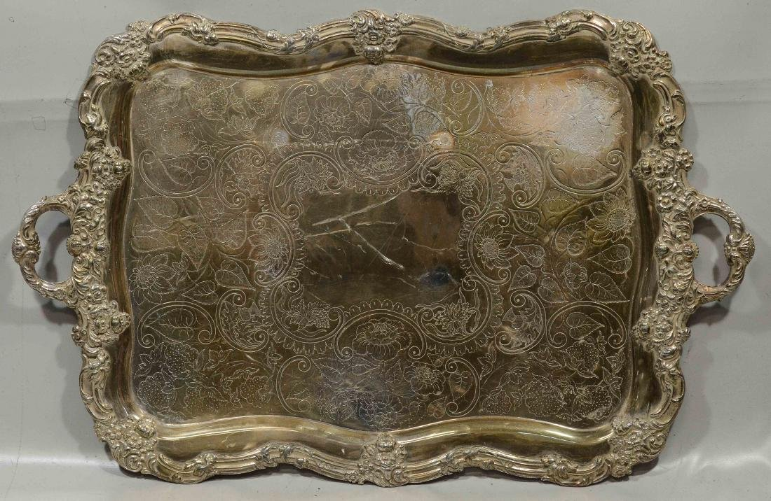 Rectangular scalloped plated tray, unmarked, 32-1/2""