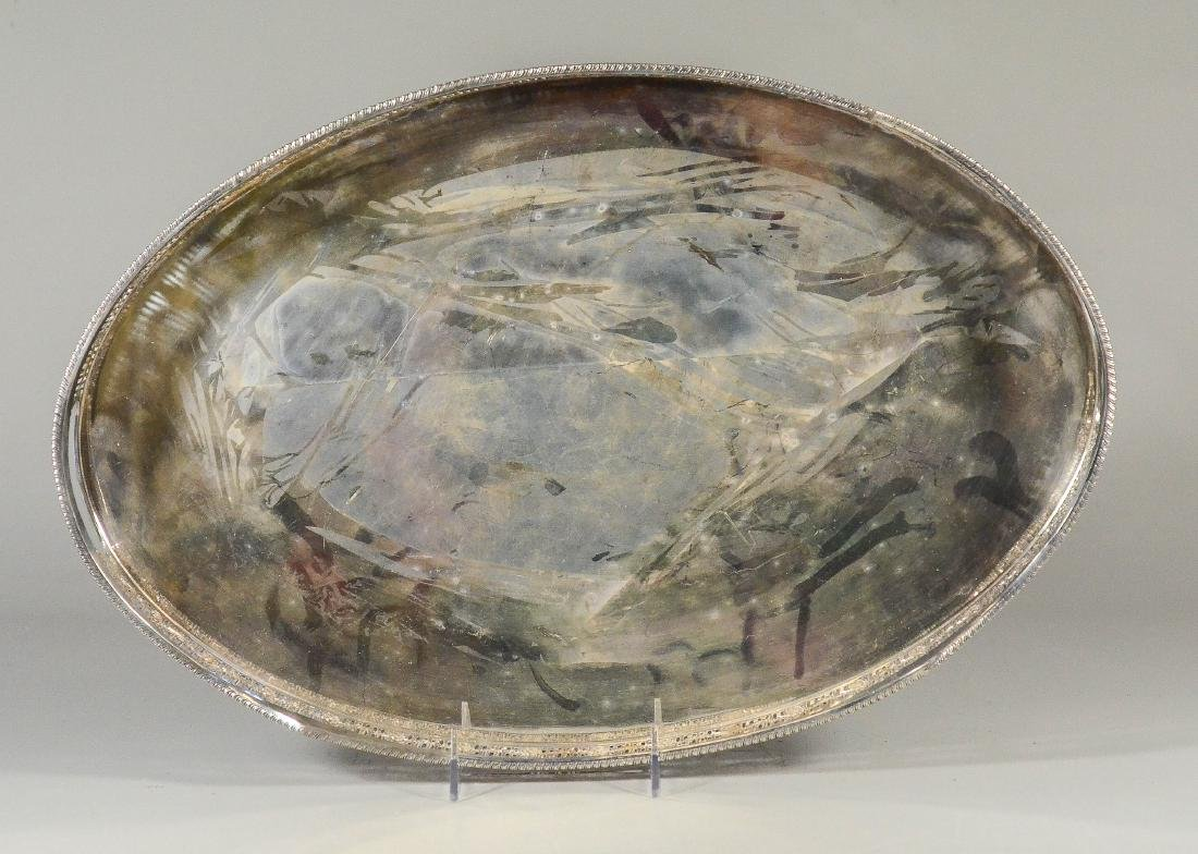 Oval Sheffield Silver Plated Pierced Gallery Tray