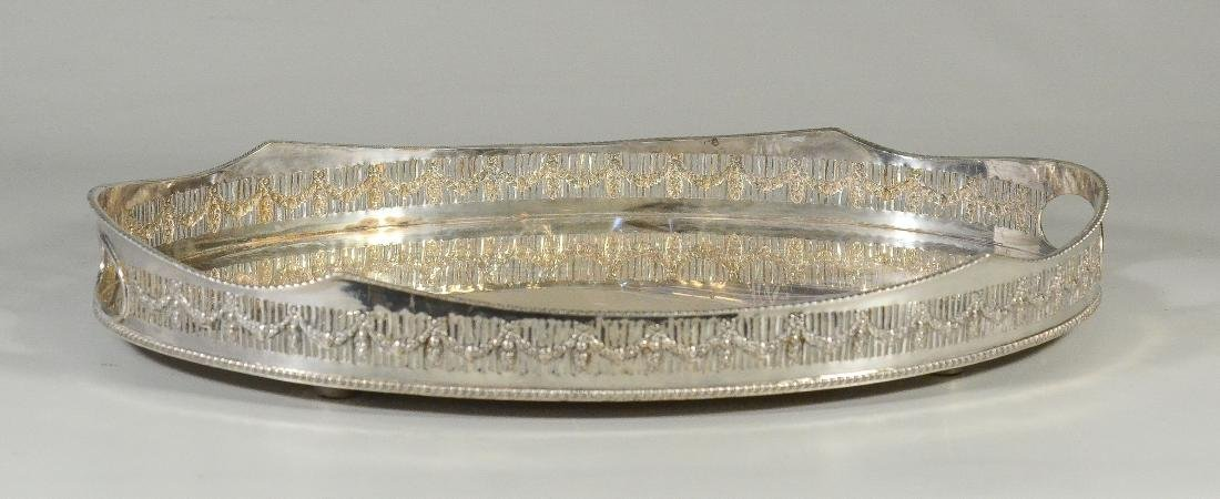 Oval Sheffield Silver Plated Pierced Gallery Tray - 2